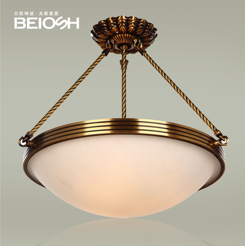 4 Lights Brass Pendant with Frosted Glass Shade