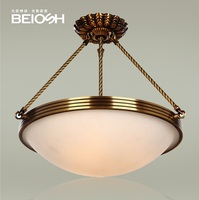 50cm(20) Round 4 Lights Brass Pendant with Frosted Glass Shade