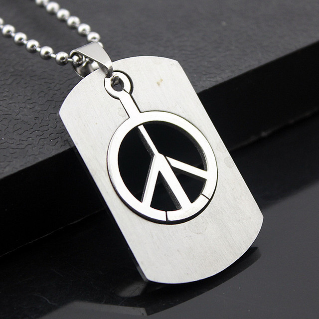 New product stainless steel dog tag peace sign pendant necklace new product stainless steel dog tag peace sign pendant necklace simple cheap necklace jewelry separable peace mozeypictures Image collections