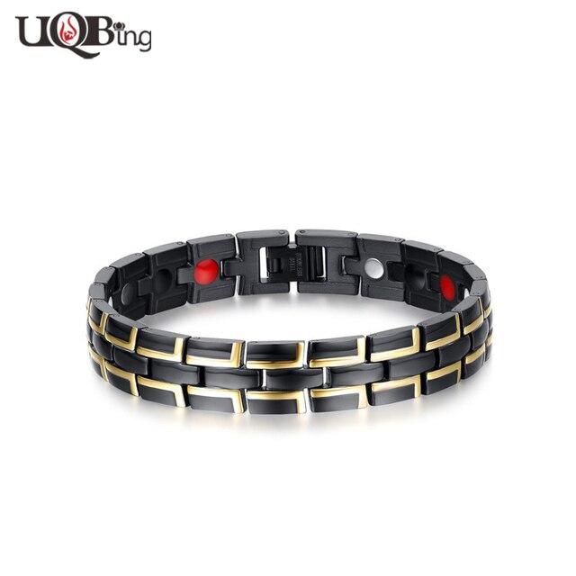 Wholesale Good Quality Titanium Steel Black Magnets Bracelets & Bangles For Men Body Care Health Jewelry