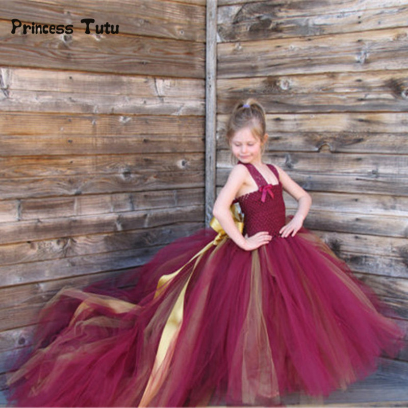 Handmade Removable Long Train Tail Girls Tulle Tutu Dress Baby Party Frocks Elegant Wine Birthday Dancing Festival Party Dresses high quality handmade diy baby girls tutu dress gift summer flower girls party dress pink plum tulle dress free shipping
