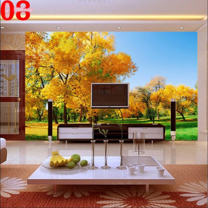 aliexpress.com : acquista carta da parati qiangbu paesaggio giallo ... - Carta Da Parati Paesaggi Naturali