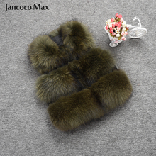 Jancoco Max 2019 Women Real Raccoon Fur Vest Winter Warm Fashion Gilet Waistcoat New 3 Rows Coat S1150B