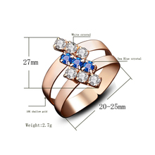 Blue & White Zircon Crystal Adjustable Rings