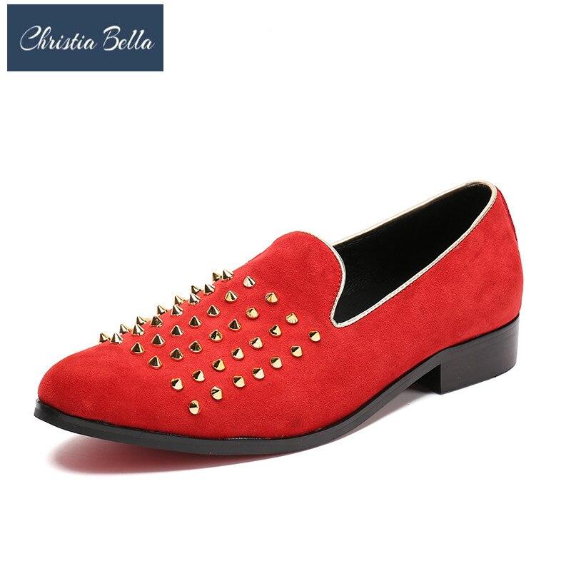 Rojos Novia Los Christia Vestido Hombres Cuero Con Planos Tacos Bella Inferiores Picos Zapatilla De Discoteca Holgazanes Genuino Zapatos Rojo OxO1YA