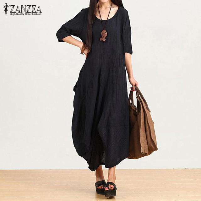 New Arrival ZANZEA Women Autumn Dresses 2016 Ladies Casual Loose Half Sleeve Asymmetric Hem Vestidos Maxi Long Dress Plus Size