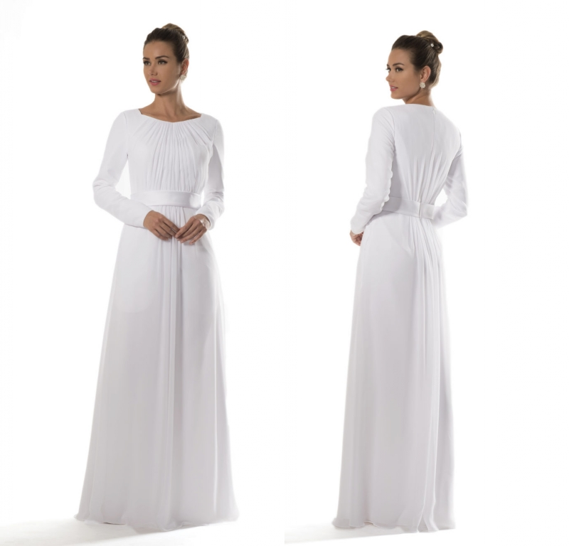White Chiffon Temple Modest Bridesmaid Dresses 2019 With Long Sleeves Brides Informal Reception Dresses A-line Floor Length New