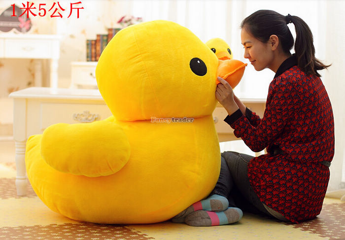 Fancytrader new style giant plush stuffed Kids toys lovely Rubber Duck 39'' 100cm yellow rubber Duck+free shipping FT90122 1pcs 50cm stuffed dolls rubber duck hongkong big yellow duck plush toys hot sale best gift for kids girl