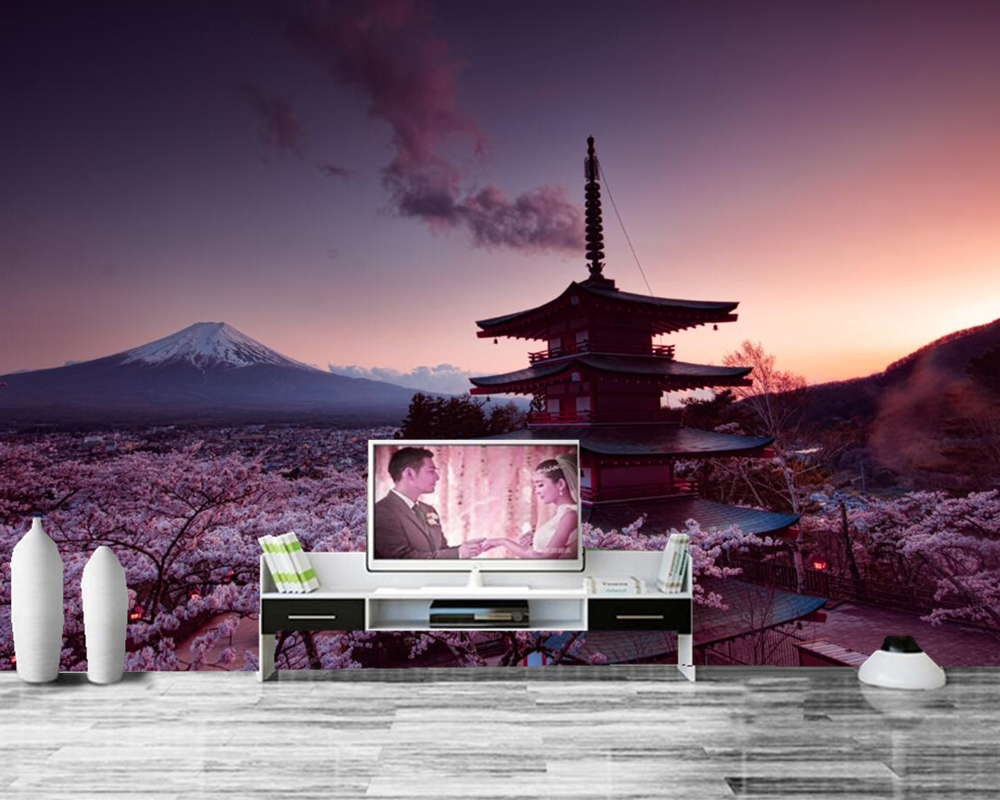 Mount Fuji Japan Pagodas Evening Tower Nature photo wallpape,restaurant living room TV background sofa wall bedroom bar 3d mural genuine fuji mini 8 camera fujifilm fuji instax mini 8 instant film photo camera 5 colors fujifilm mini films 3 inch photo paper