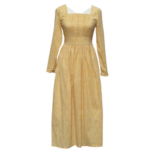 LYNETTE S CHINOISERIE French light rustic one piece dress yellow autumn long sleeve royal full dress