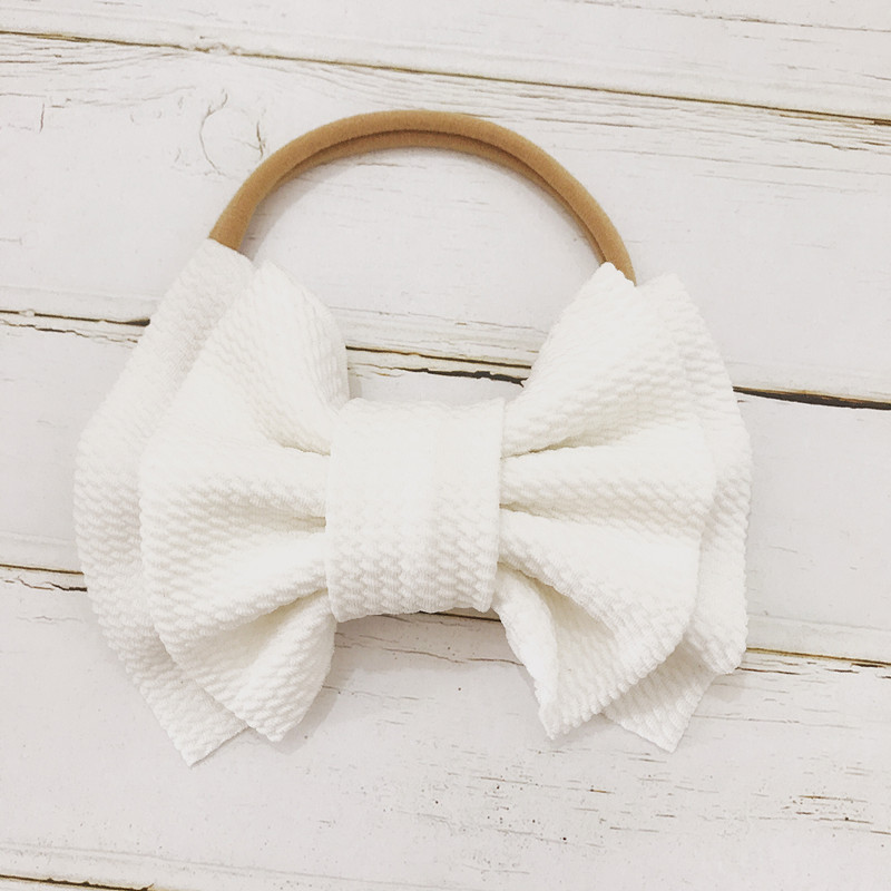 Hot 9 Colors Kids Baby Girls Soft Big Bow Hairband BowKnot Elastic Headband Toddler Kids Women Solid Fashion Hair Accessories