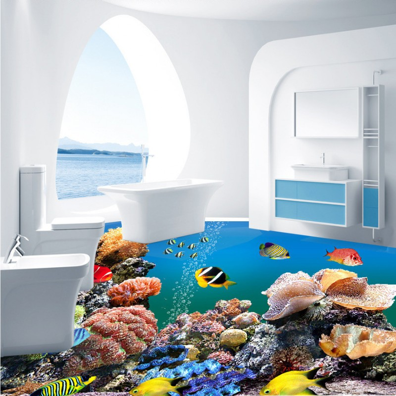 Free shipping tropical fish aquarium 3d floor waterproof for 3d aquarium wallpaper for bedroom