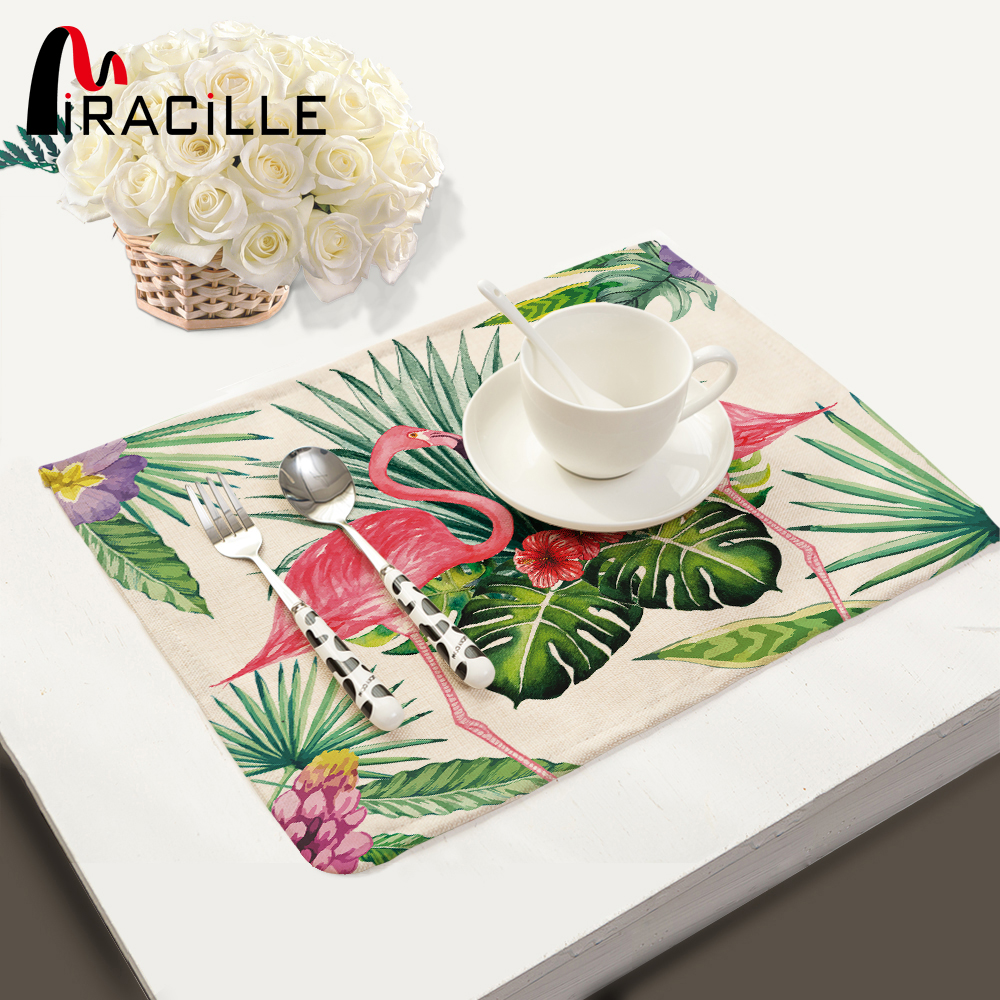 Miracille 2/4 / 6pieces Set Linen Tropical Flamingo Pattern Placemat Hjem Dekorative Bordmatte Kjøkkenbordsmatter Servietter
