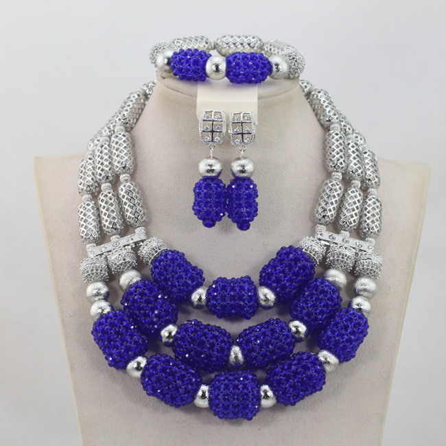 купить 3 Rows Crystal Beads Jewelry Sets 2017 new African Wedding Silver Mix Royal Blue Necklace African Accessory Free Shipping ABL985 по цене 4419.84 рублей