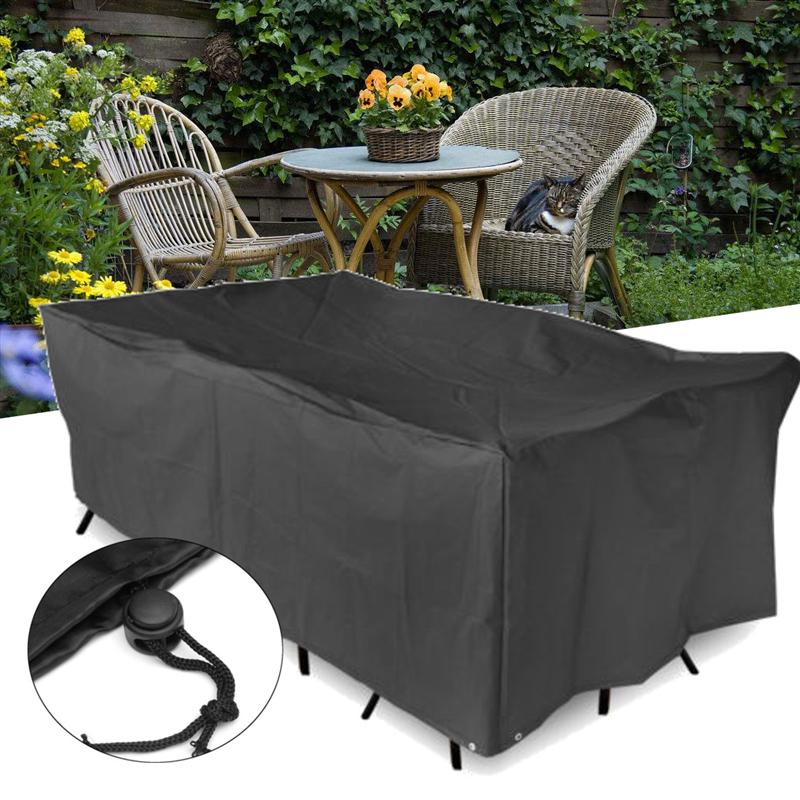 Black Outdoor Waterproof Furniture Cover Table Cloth Canopy Garden Patio Table Chair Rectangular Shelter Protective Dust Cover