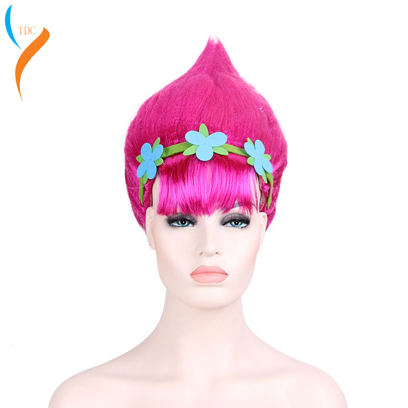 Trolls Wigs Halloween Party Cosplay Poppy Wig For Kids Trolls Costume Party Supplies Kids & Adults Hair