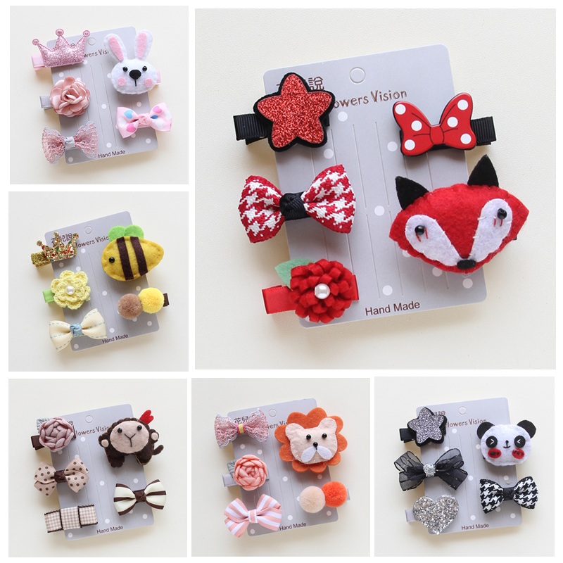 5pcs / Set Cute Pet Hairpin Set Cartoon Buer Hairpins Hair Clips For Dogs Teddy Yorkshire Pet Grooming Tilbehør