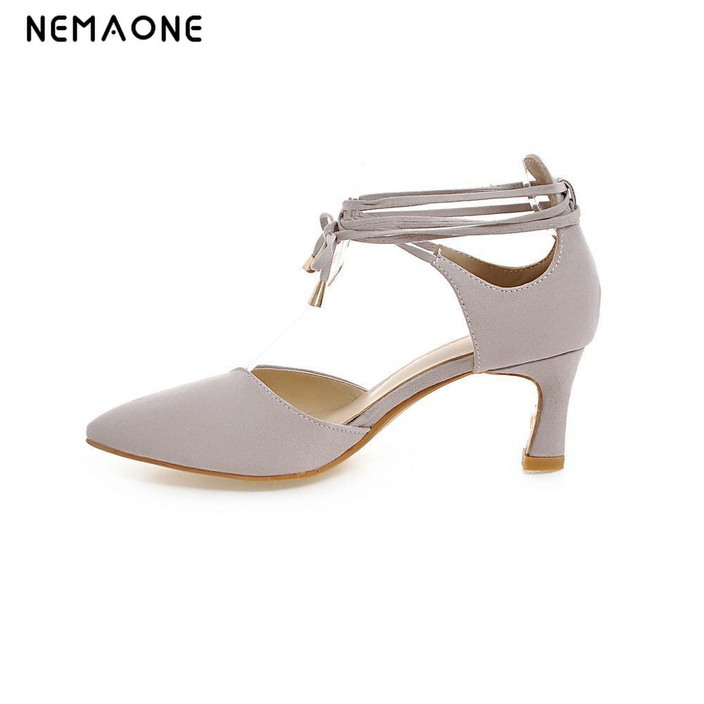 NEMAONE 2017 New summer sexy women pumps poined toe lace up high heels women shoes lady party shoes large size 34-43 taoffen women high heels shoes women thin heeled pumps round toe shoes women platform weeding party sexy footwear size 34 39