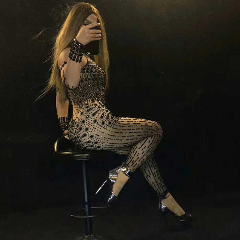 Women Singer Sexy Sparkly Black Crystals Nude Long One-Piece Performance Outfit Stage Costumes DJ307
