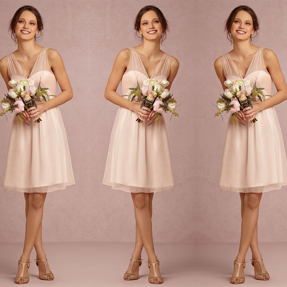 Elegant Short Light Pink Blush Peach Bridesmaid Dress 2016 V Neck Tulle Dresses Simple Wedding Party B13 In From