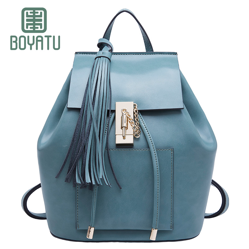 BOYATU Designer Luxury Bagpack Female Mochila Genuine Leather Women Backpack Sac A Dos Rucksack Girl Casual Shoulder Bag Fashion ...