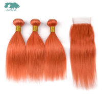 Allrun Hair Brazilian Straight 3 4 Bundles With Closure Pure Color Orange Human Hair Bundles With