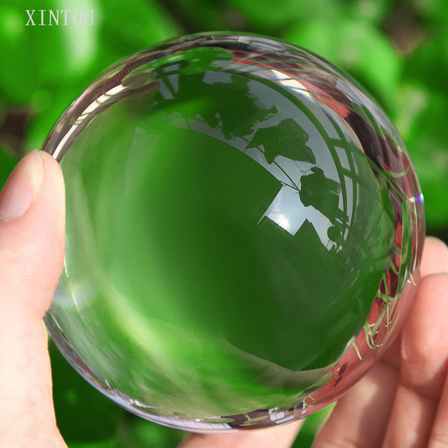 XINTOU Clear Lens Ball Photography Prop Crystal Ball 80mm K9 Crystal Glass Decor Globe Meditation Healing Magic Feng shui Sphere