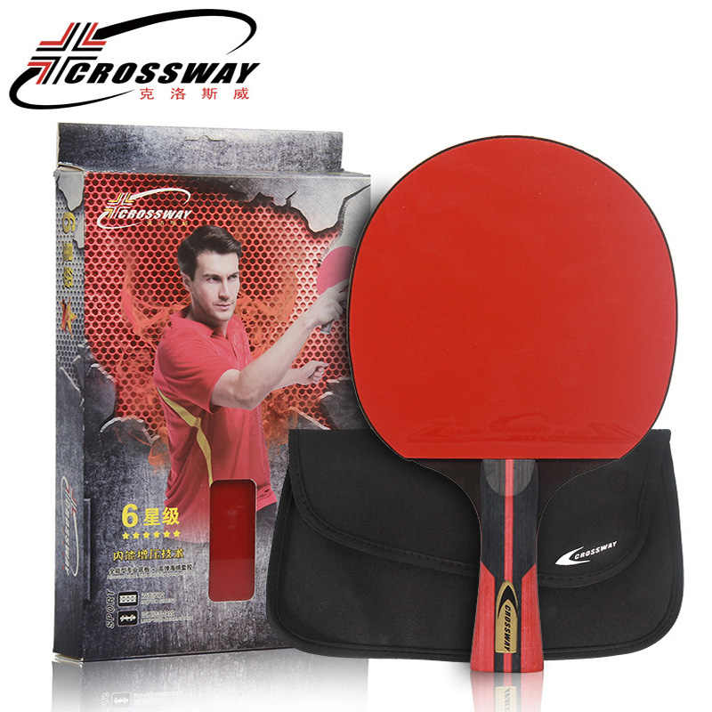 6 Stars Table Tennis Racket Rubber Ping Pong Blade Professional Horizontal Grip 1 Piece Table-tennis Raquete With Bag