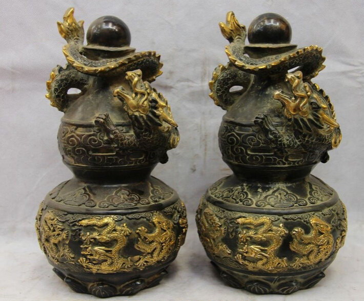 xd 002076 China Bronze Copper Feng Shui Dragon Play Bead bottle Gourd Pot Vase Statue Pair statue dragon statue bronzestatue china - title=