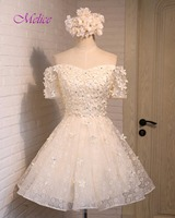 Melice Charming Sweetheart Appliques Beaded Lace Cocktail Dress 2018 New Romantic Short Sleeve Prom Party Gown Vestido de Festa