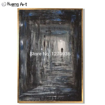 Hand-painted Modern Abstract Dark Narrow Alley People Walking Landscape 100% Handmade Oil Painting On Canvas Landscape Paintings