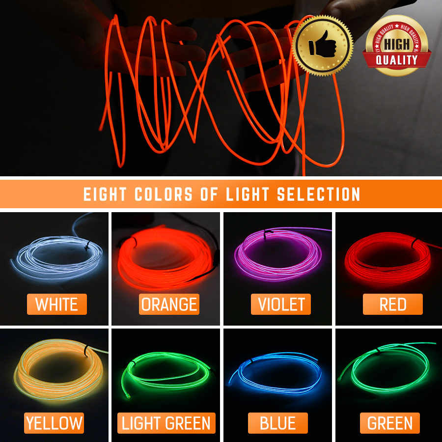 3M/5M DC3V Neon Light Dance Party Car Decor Light Flexible EL Wire Rope Tube LED Strip holiday lamp ceiling deco With Controller
