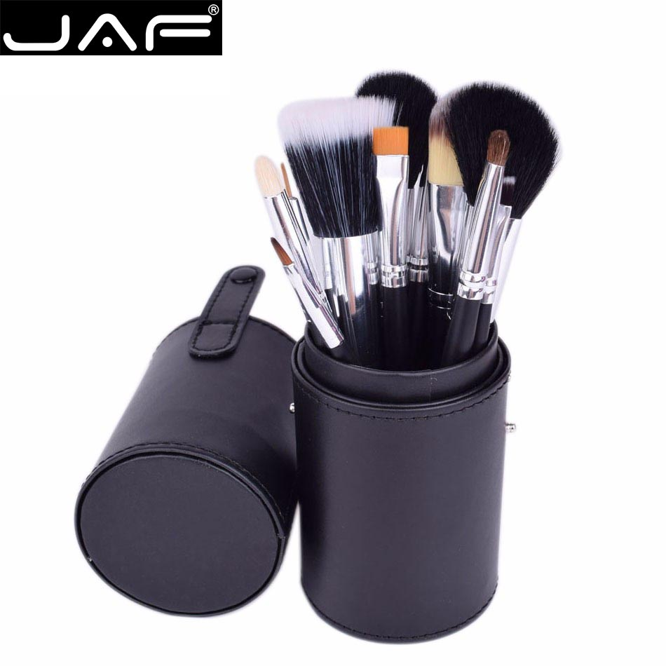 JAF Brand 12pcs Makeup Brushes Kit Holder Tube Convenient Portable Leather Cup Natural Hair Synthetic Duo Fiber Studio J1204MCB