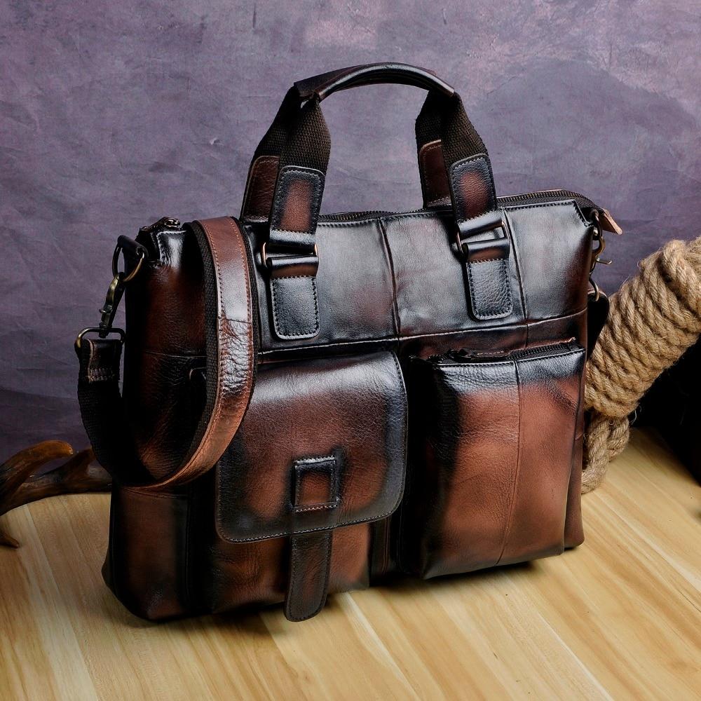 """Men Quality Leather Antique Fashion Business Briefcase 15"""" Laptop Case Attache Portfolio Bag One Shoulder Messenger Bag B260-db"""