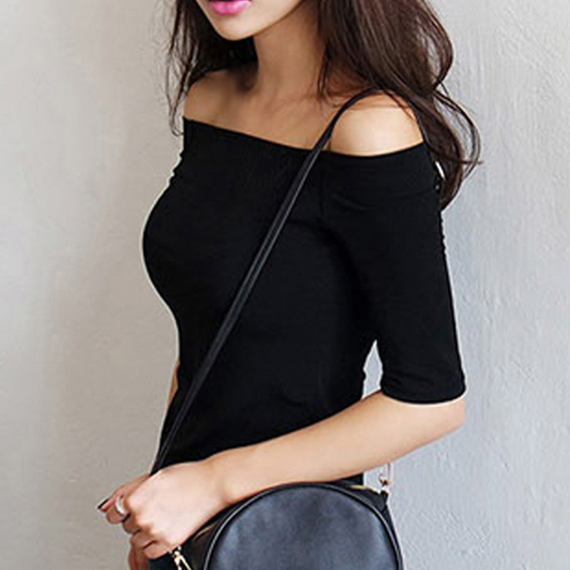 Women Autumn T-shirts Half Sleeves Off Shoulder Pullover Slim Fit Casual Tops FDC99