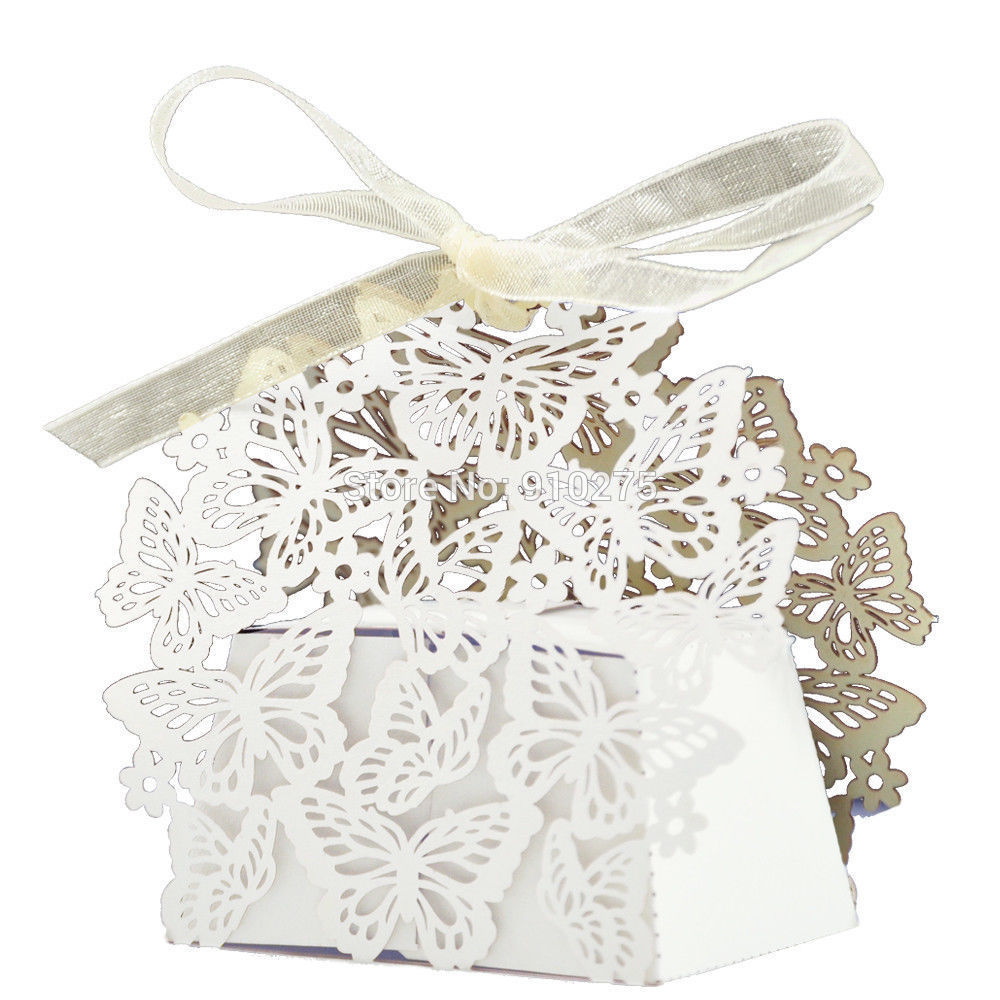 Online Shop Pack of 50 Laser Cut Butterfly Wedding Favor Box With ...
