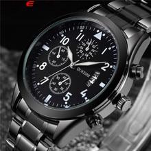 Top Brand OUKESHI Nueva Llegada Calendario Función de Hombres de Negocios Relojes de Acero Inoxidable Relojes de pulsera de Cuarzo Relogio masculino OKS27