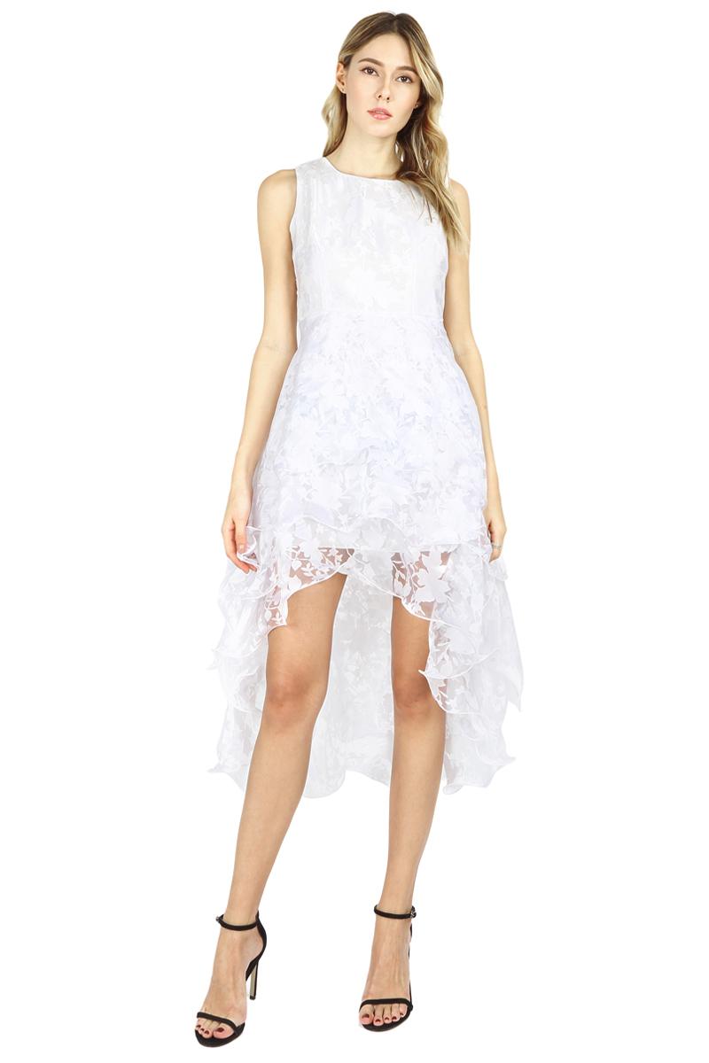 Summer Maxi Dress 2017 New Women O-Neck Sleeveless Sweet Ball Gown White Organza High Low Evening Party Long Dress Plus Size (6)