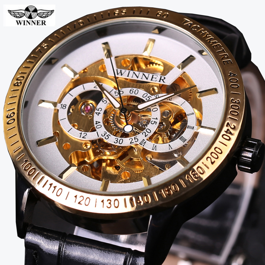 Classic Watches Men's WINNER Automatic Mechanical Watch Skeleton Steampunk Leather Strap Self winding Men Wristwatches Relojes cjiaba gk8001 sw pu leather band skeleton self winding mechanical wrist watch for men black