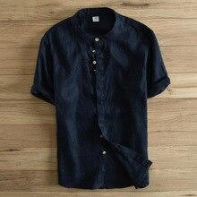 High Quality Men Shirt Short Sleeve Linen Cotton