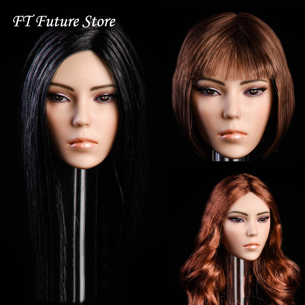 Collectible YMT014 1 6 Female Head Sculpt Magic Planted Hair Mixed race Beauty Carved Model for