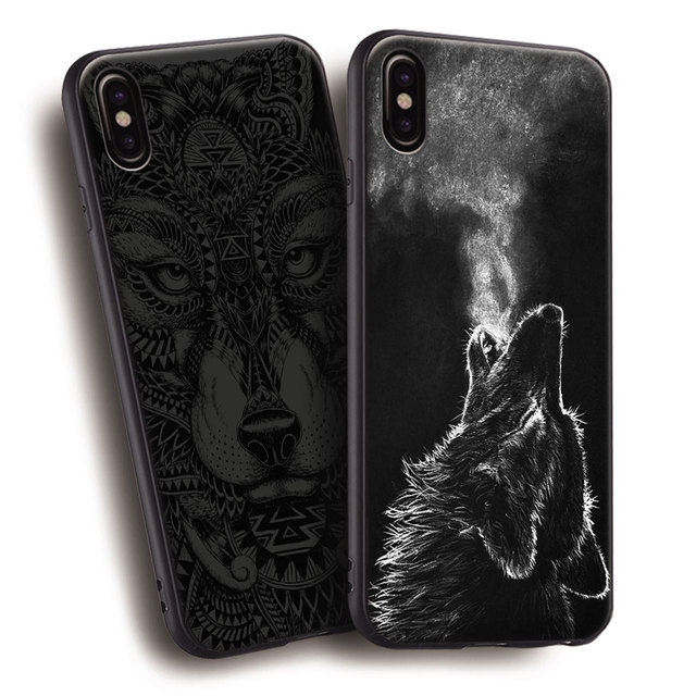 4883c4a0bdec30 Wolf Black Totem Animal Pattern TPU Soft Silicone Phone Case Cover Shell  For Apple iPhone 5 5s Se 6 6s 7 8 Plus X XR XS MAX