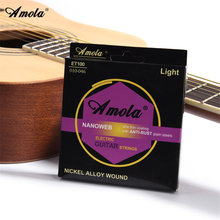 2sets Amola ET100 Electric Guitar Strings 010-046 Light NANBright Tone Round Wound Ulra Thin Coating Electric Guitar String