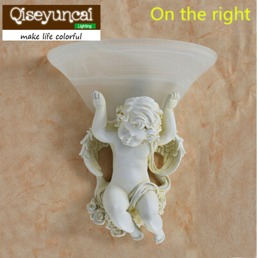 2018 contracted white leds resin angel wall lamp E27 85v-260v led wall light sitting room apliques pared corridor wall lamp