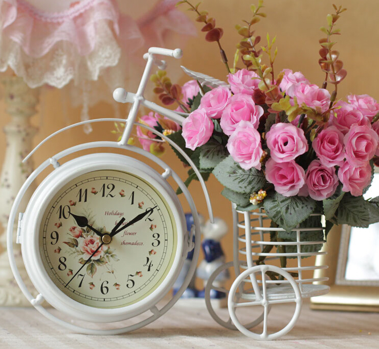 Bicycle shape Desk clocks with flower vases Iron crafts home decoraton wedding decoration vases flower pots planters vaso art