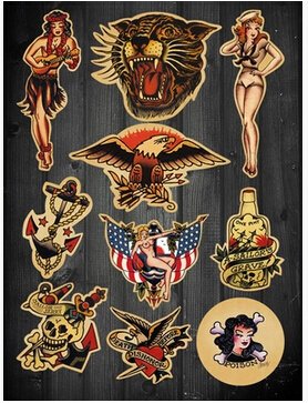 imposition sailor jerry tattoo retro style suitcase stickers laptop