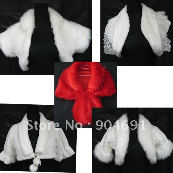 Wholesale Instock Short Sleeves White Wedding Dress Accessories Vest - Red White Ivory Bridal Dress Bolero Jacket J5