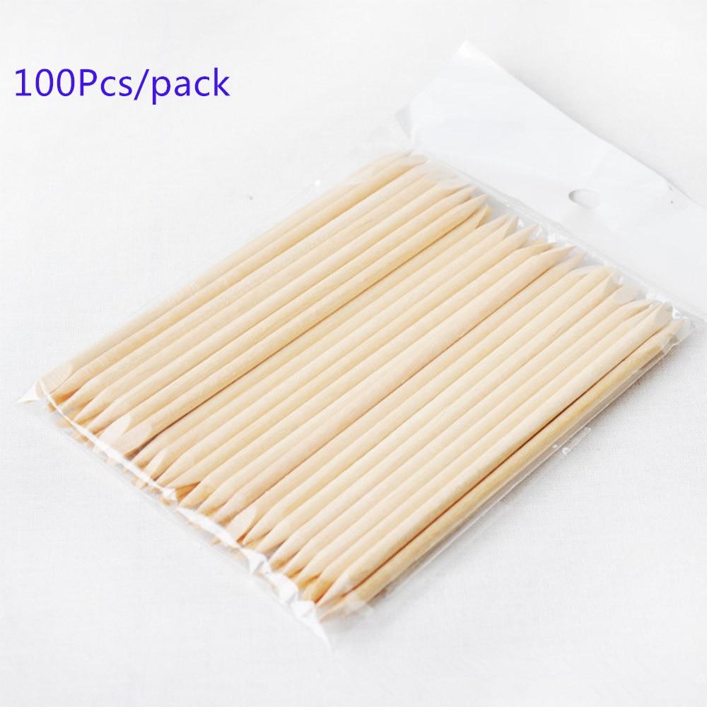 100X Nail Art Design Orange Wood Stick Cuticle Pusher Remover Manicure Care wooden sticks 100pcs