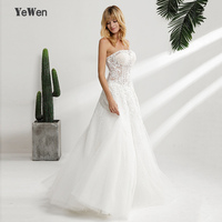 Robe de Mariage Sexy strapless Bohemian Lace Vintage Boho Beach Wedding Dress 2018 Romantic Wedding Gowns Vestido de Noiva