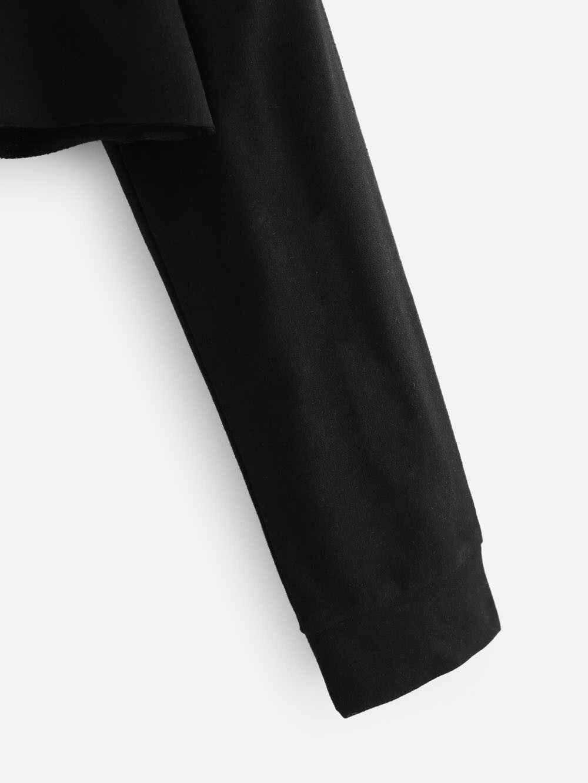 무료 타조 럭셔리 귀여운 여성 스웻 셔츠 까마귀 자르기 탑 솔리드 고양이 귀 긴 소매 자른 스웨터 후드 풀오버